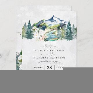 Rustic Mountain Forest Evergreen Tree Wedding Invitation