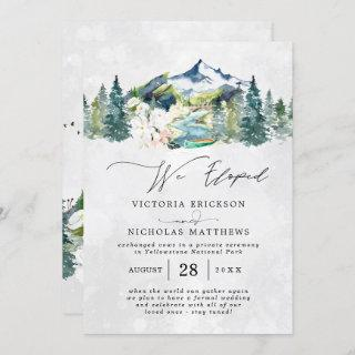 Rustic Mountain Forest Evergreen Wedding Elopement Invitations