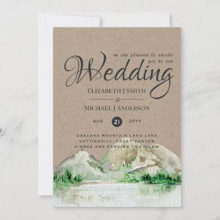 Rustic Mountain Lake Forest Wedding Invitations