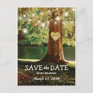 Rustic Mountain Lake Twinkle Lights Save the Date Announcement Postcard