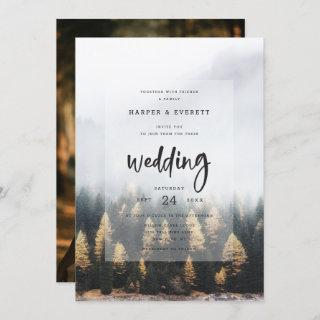 Rustic Mountain Pine Trees Fall Forest Wedding Invitations