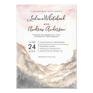 Rustic Mountain Range Watercolor Pink Sky Wedding Invitations
