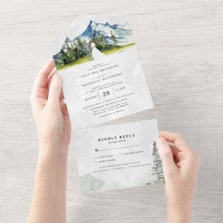 Rustic Mountain Wedding All in One Wedding Invite