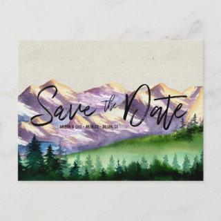 Rustic Mountain Wedding | Save the Date Postcard