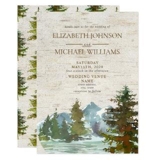 Rustic Mountains Forest Watercolor Birch Wedding Invitations