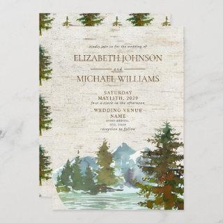 Rustic Mountains Forest Watercolor Birch Wedding Invitation