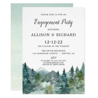 Rustic mountains forest watercolor engagement Invitations