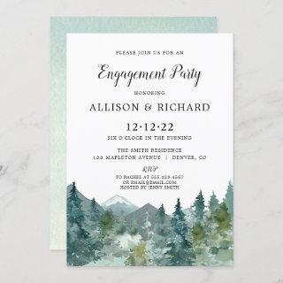 Rustic mountains forest watercolor engagement invitation