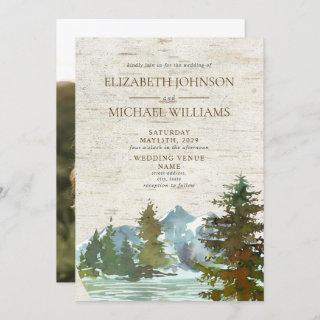 Rustic Mountains Forest Watercolor Photo Wedding Invitations