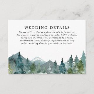 Rustic mountains forest watercolor wedding details enclosure card