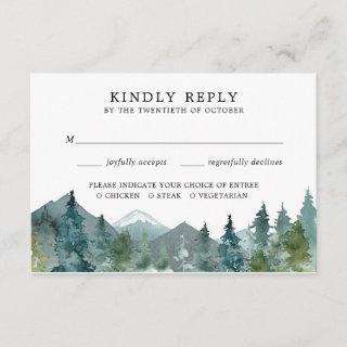 Rustic mountains forest woods wedding RSVP Enclosure Card