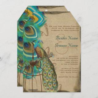 Rustic Musical Peacock Birdcage Feather Wedding Invitations