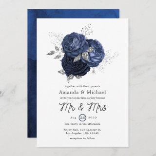 Rustic Navy and Faux Glitter Silver Floral Wedding Invitation