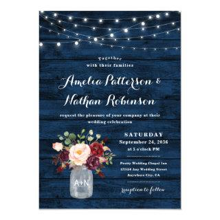 Rustic Navy Blue and Burgundy Blush Floral Wedding Invitations