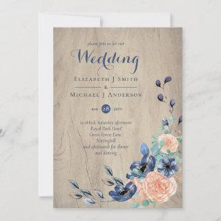 Rustic Navy Blue and Orange Wedding Woodland