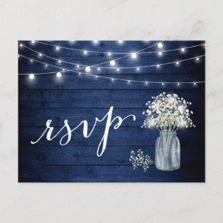 Rustic Navy Blue Baby's Breath String Lights RSVP Invitations Postcard