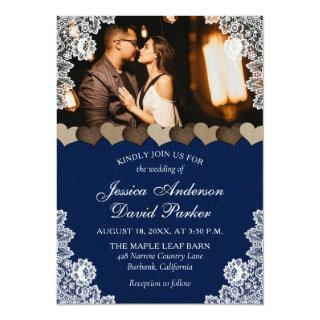 Rustic Navy Blue Burlap and Lace Wedding Photo Invitation