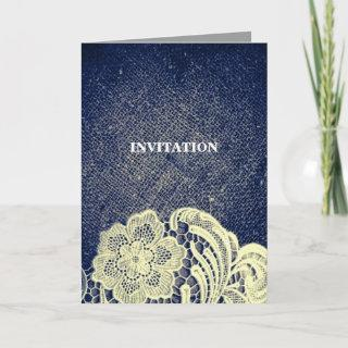 rustic navy blue burlap lace country wedding Invitations