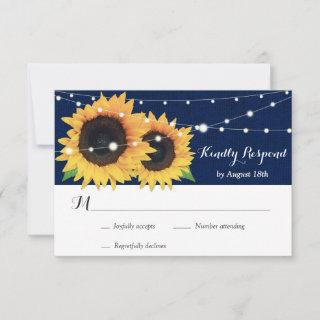 Rustic Navy Blue Burlap Sunflower Wedding RSVP
