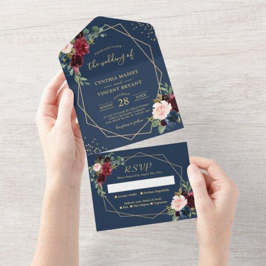 Rustic Navy Blue Geometric Wedding (no ENV needed) All In One