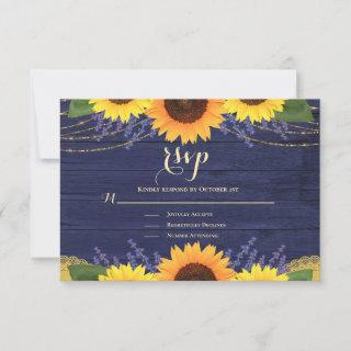 Rustic Navy Blue Gold Lace Sunflower Wedding RSVP