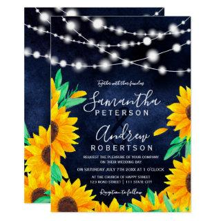 Rustic navy blue string lights sunflowers wedding Invitations