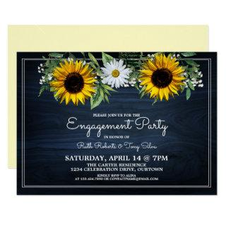 Rustic Navy Blue Sunflower Daisy Engagement Party Invitation