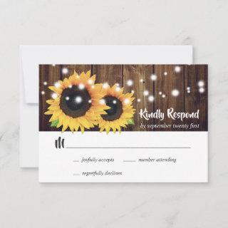 Rustic Navy Blue Sunflower RSVP Card Meal Choice