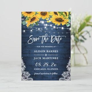 Rustic Navy Blue Sunflower String Lights Wedding Save The Date