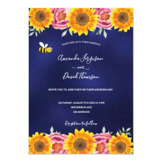Rustic navy blue sunflowers pink florals wedding Invitations