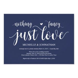 Rustic Navy Blue Wedding Elopement Reception Invitation