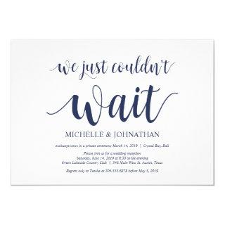 Rustic Navy Blue Wedding Elopement Reception Invitations