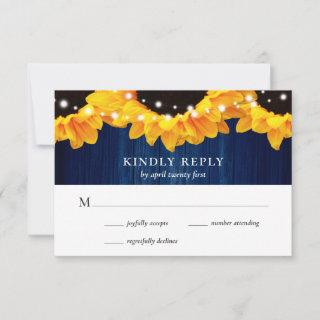 Rustic Navy Blue Wood Lace Sunflower RSVP Card