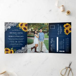 Rustic Navy Blue Wood Lace Sunflower Wedding Photo Tri-Fold Invitations