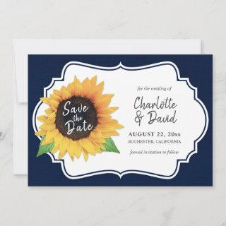 Rustic Navy Burlap Sunflower Save The Date Cards