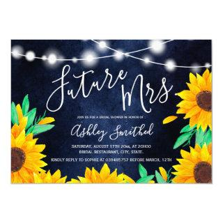 Rustic navy string lights sunflowers bridal shower invitation