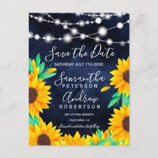 Rustic navy string lights sunflowers save the date announcement postcard