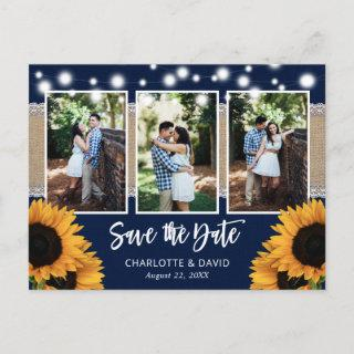 Rustic Navy Sunflower Save The Date Photo Postcard