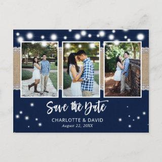 Rustic Navy Wedding Save The Date Photo Postcards