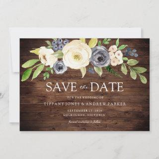 Rustic Navy & White Watercolor Flowers Wedding Save The Date