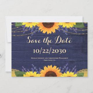 Rustic Navy Wood String Lights Sunflower Wedding Save The Date