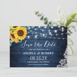 Rustic Navy Wood Sunflower String Lights Wedding Save The Date