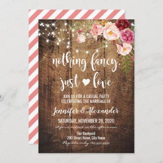 Rustic Nothing Fancy Just Love Invitations