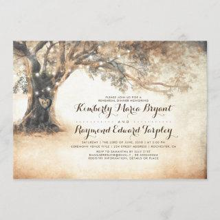 Rustic Oak Tree and Carved Heart Rehearsal Dinner Invitations