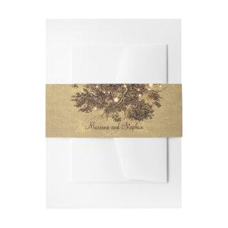 Rustic oak tree branches string lights wedding Invitations belly band