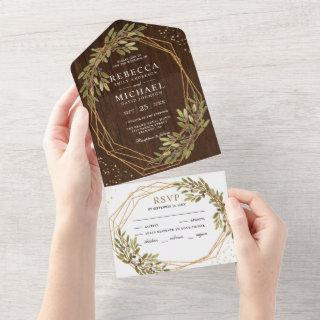 Rustic Olive Branch Gold Frame Barn Wood Wedding All In One