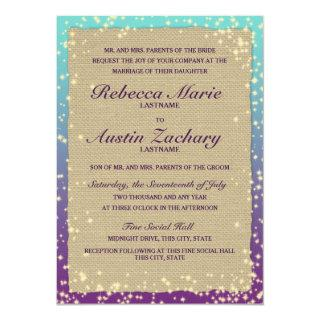 Rustic Ombre' Sparkle Wedding Invitation