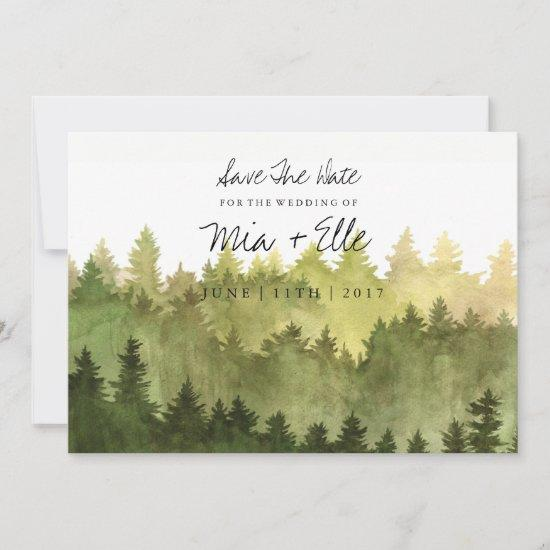 Rustic Ombre Watercolor Forest Save The Date