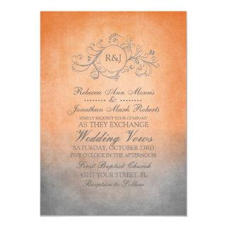 Rustic Orange and Grey Bohemian Wedding Invitations