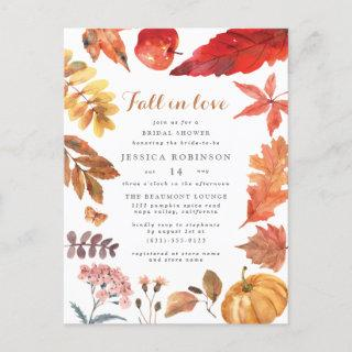 Rustic Orange Leaves | Fall-Themed Bridal Shower Invitations Postcard